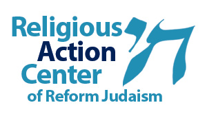 "Religious Action Center of Reform Judaism logo, with ""Chai"" in Hebrew"