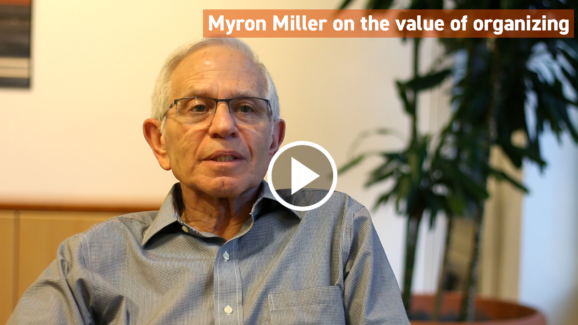 Myron Miller of the Herman and Frieda L. Miller Foundation supports civic engagement, advocacy, and community organizing in Greater Boston and Eastern Massachusetts.