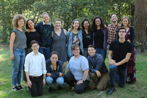 Photo of 2019-2020 Jewish Organizing Fellows and Empower Fellows smiling outside together on a green lawn.